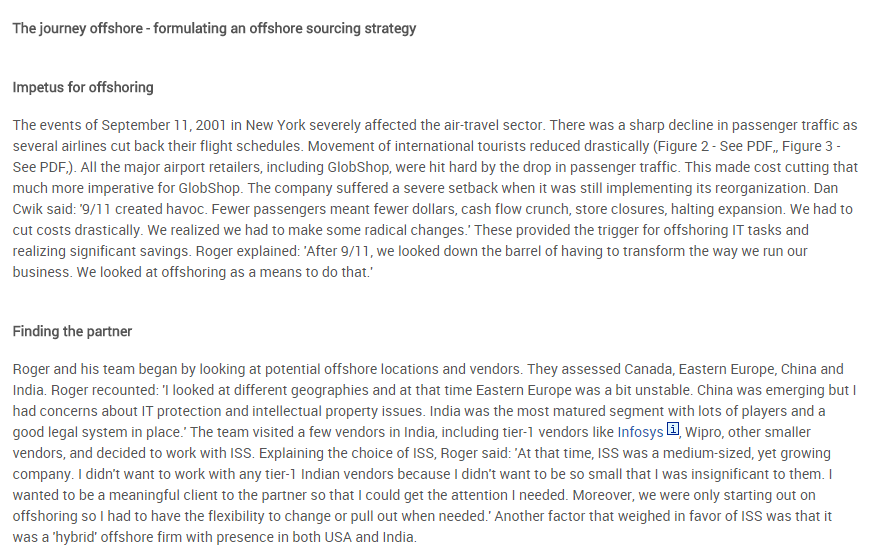 crafting and executing an offshore it This case traces the key decisions made by the cio and the challenges that were encountered during the planning and execution of the company's offshore sourcing strategy.