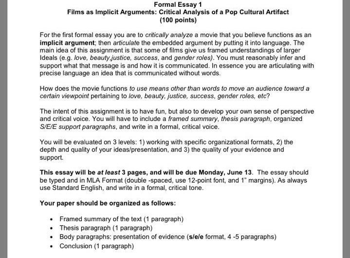 formal critical analysis essay Formal analysis formal analysis is a specific type of visual description unlike ekphrasis, it is not meant to evoke the work in the reader's mind.