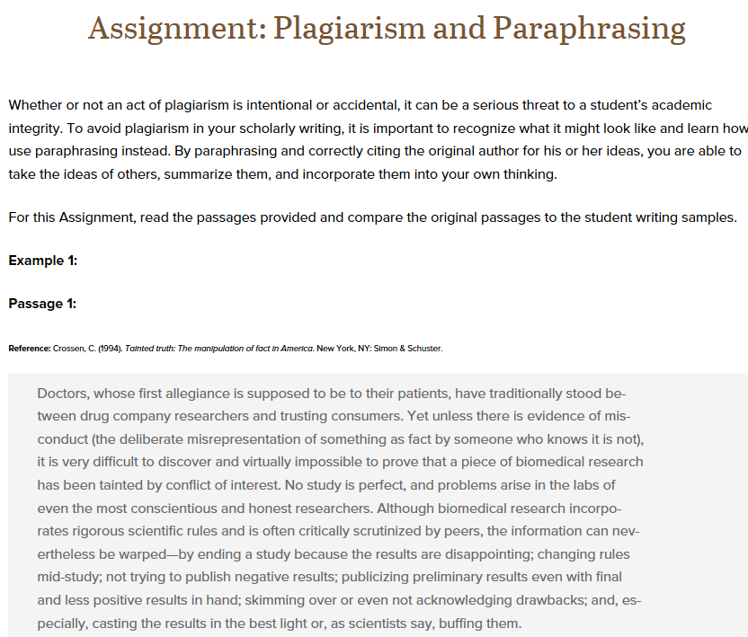 paraphrasing assignment How to avoid plagiarism: paraphrasing and summarizing paraphrasing and summarizing are very similar both involve taking ideas, words or phrases from a.