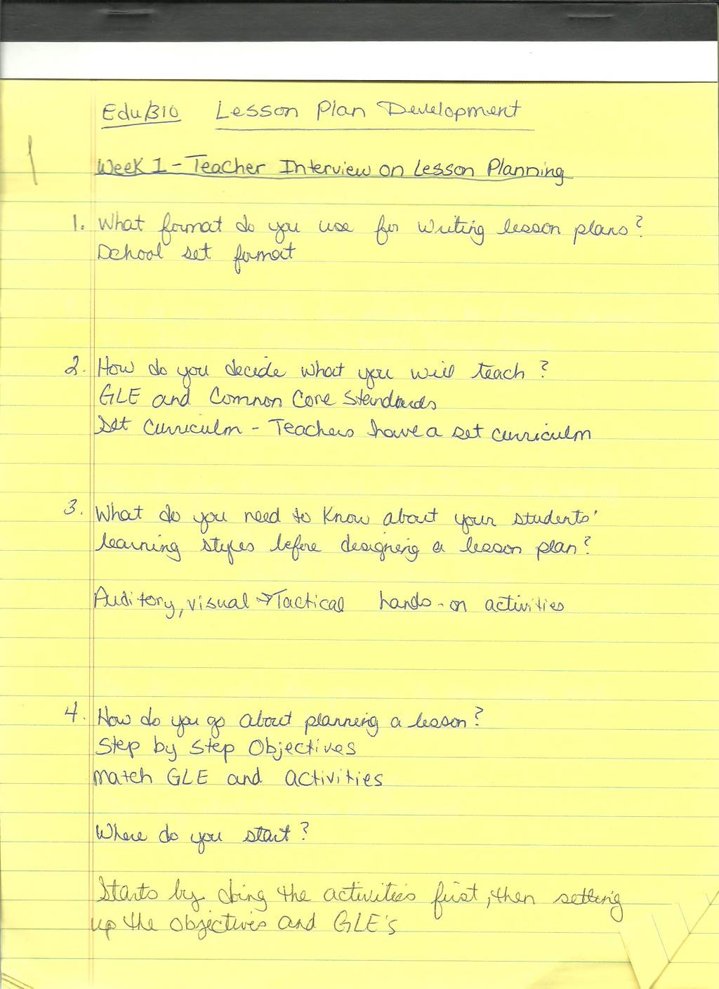 teacher interview and observation on lesson plan